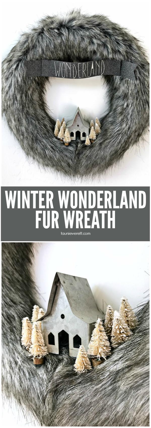 DIY Winter Wonderland fur wreath. Perfect inexpensive wreath for winter. #winter #winterwreath #christmas #christmaswreath #winterwonderland #furwreath