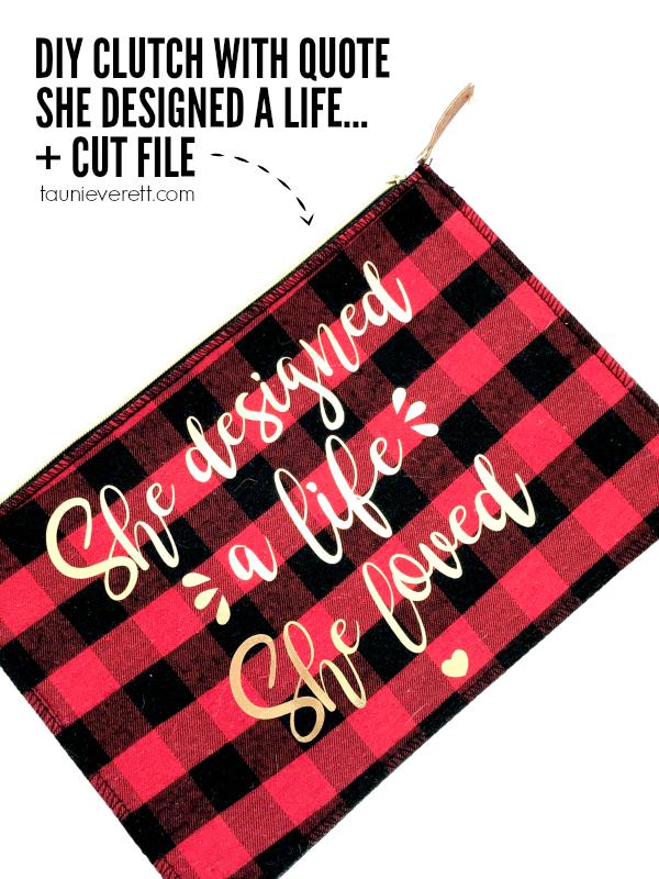 DIY felt clutch with free cut file. She designed a life she loved. #Clutch #cutfile #silhouette #cricut