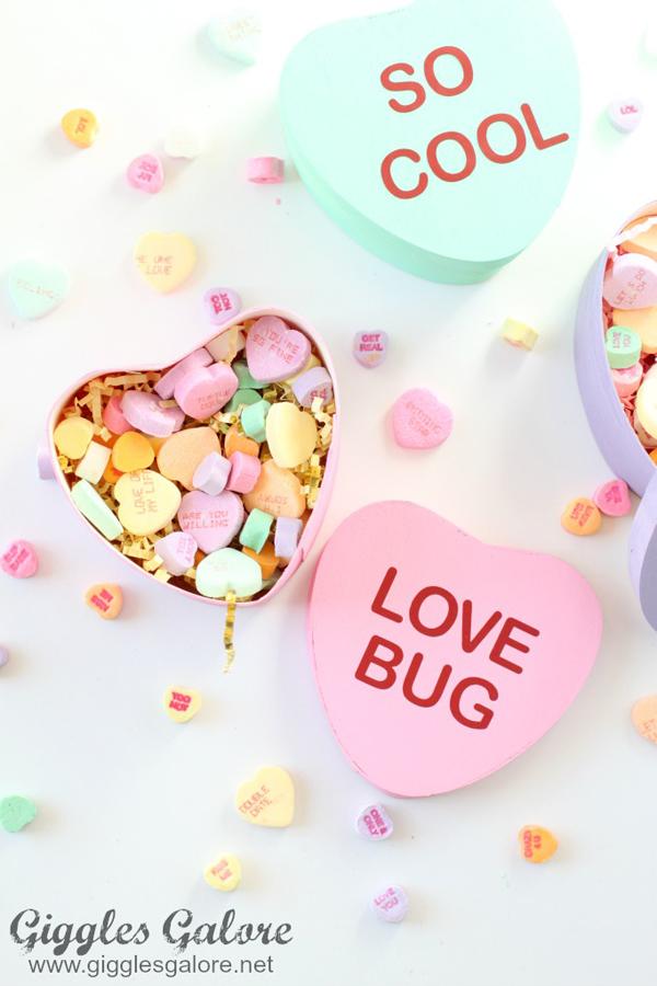 Diy painted conversation heart boxes