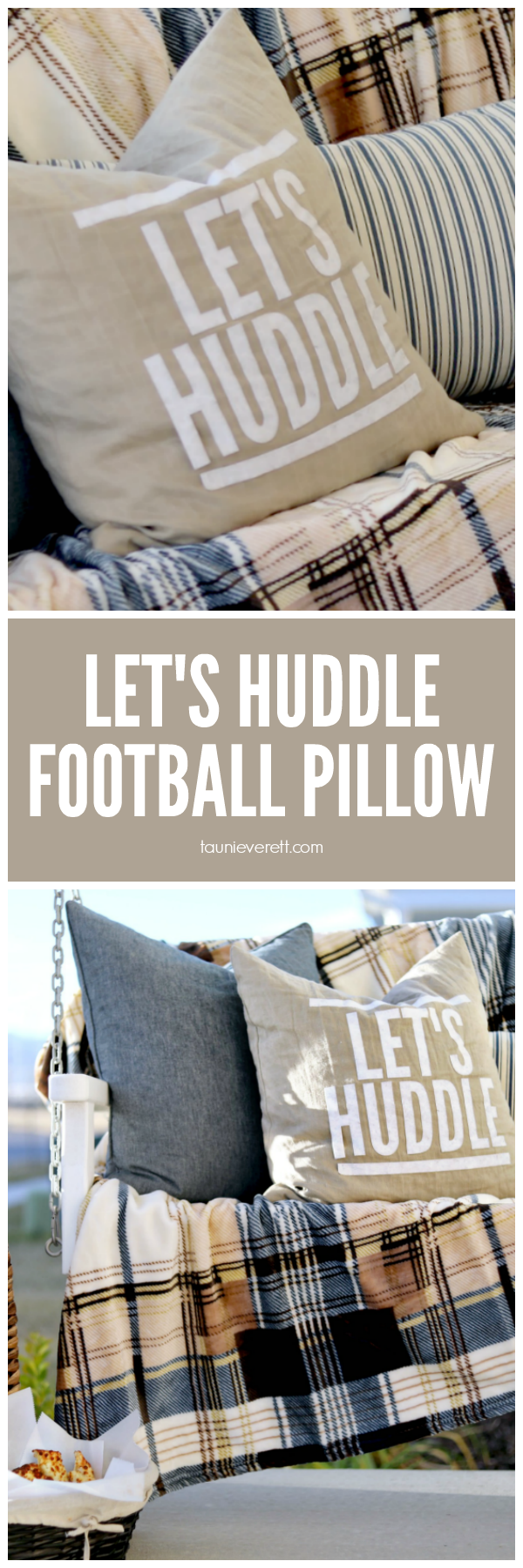 Decorate Your Home with this Let's Huddle DIY Football Pillow #cutfile #silhouette #cricut #football #superbowl