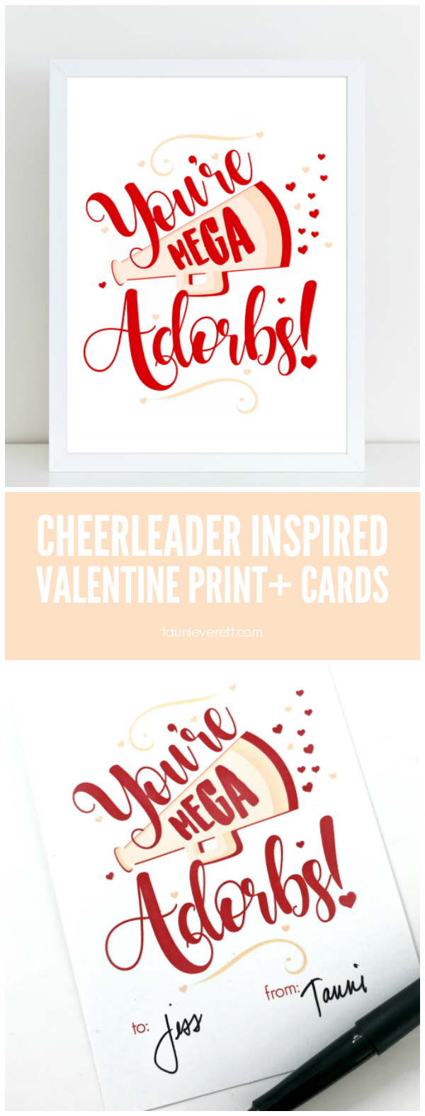 """You're Mega Adorbs!"" Cheerleader Inspired Valentine Art print and cards by Tauni Everett"