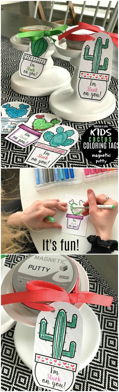 Magnetic putty and kids coloring valentine tags