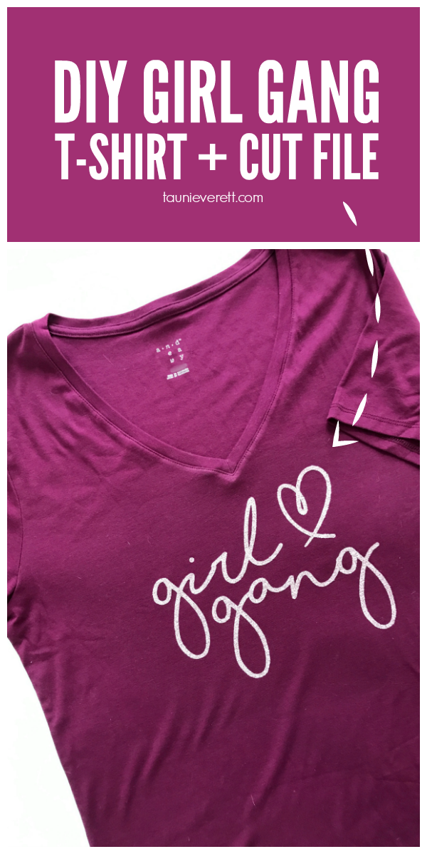 Make your own t-shirt with this fun Girl Gang cut file. Perfect for Galentines or just for fun! #valentines #galentines #girlgang #cutfile #cricut #silhouette