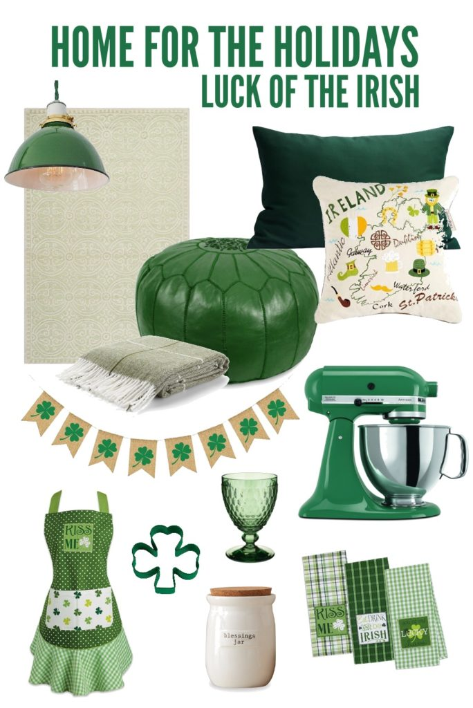 Add a touch of Irish charm to your home with these fun green pieces. Home for the Holidays: St. Patrick's Day #stpatricksday #greendecor #stpatricksdaydecor