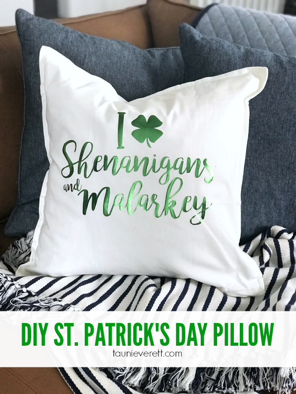 DIY St. Patrick's Day Pillow + Cut File. #cricut #silhouette #cutfile #svg