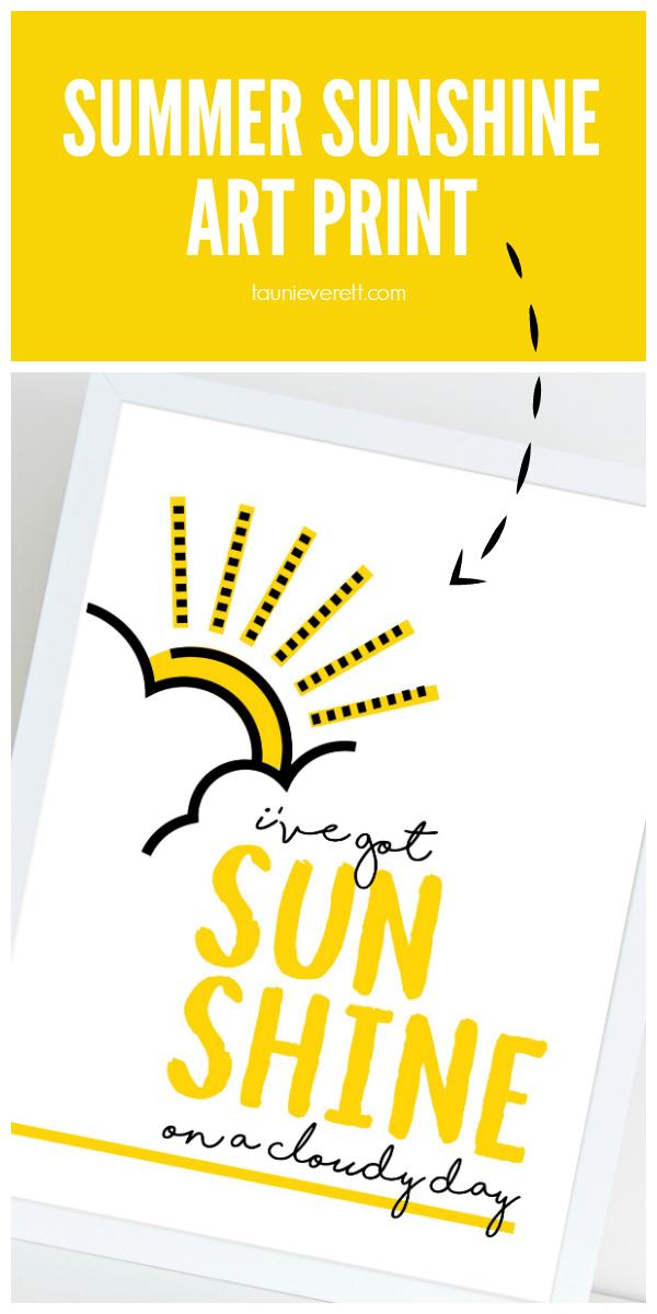 Free downloadable summer sunshine art print. #summer #summerart #summerdecor