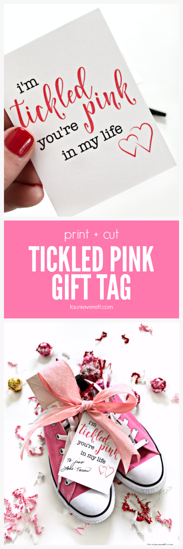 Free download print and cut tickled pink gift tag.