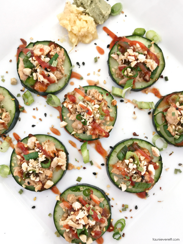 Cucumber salmon bites recipe. An easy, at home, healthy snack. #recipe #salmon