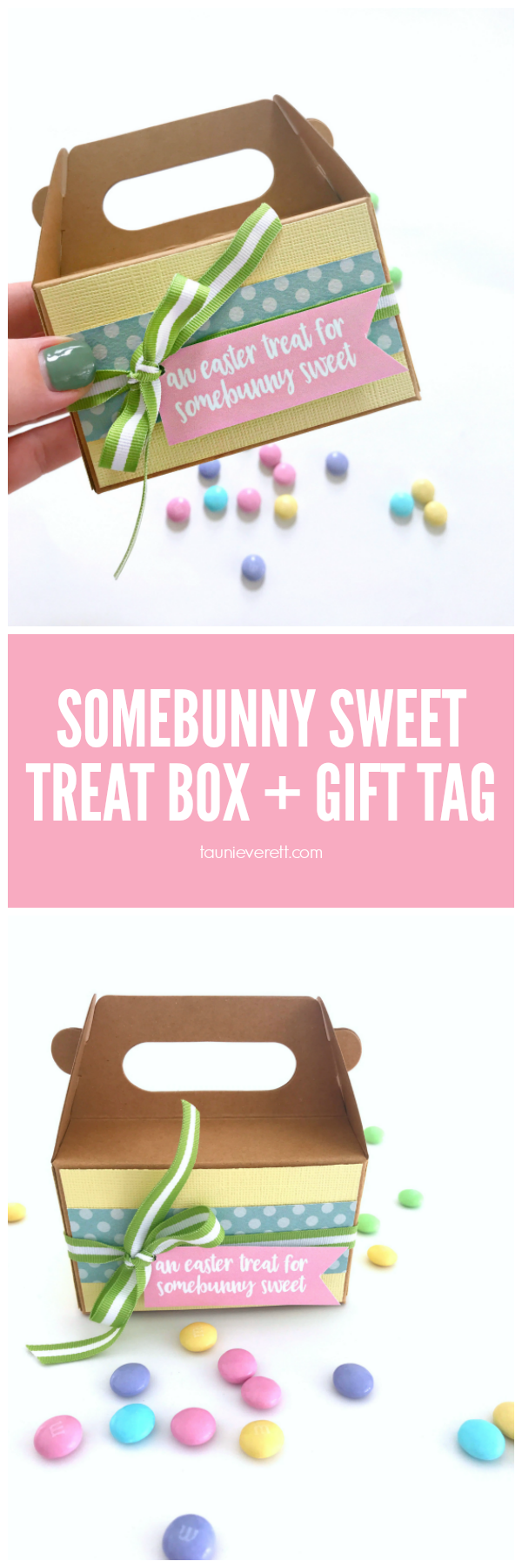 Somebunny Sweet Gift Tag and treat box idea for Easter #printable #easter #gifttag #eastergift