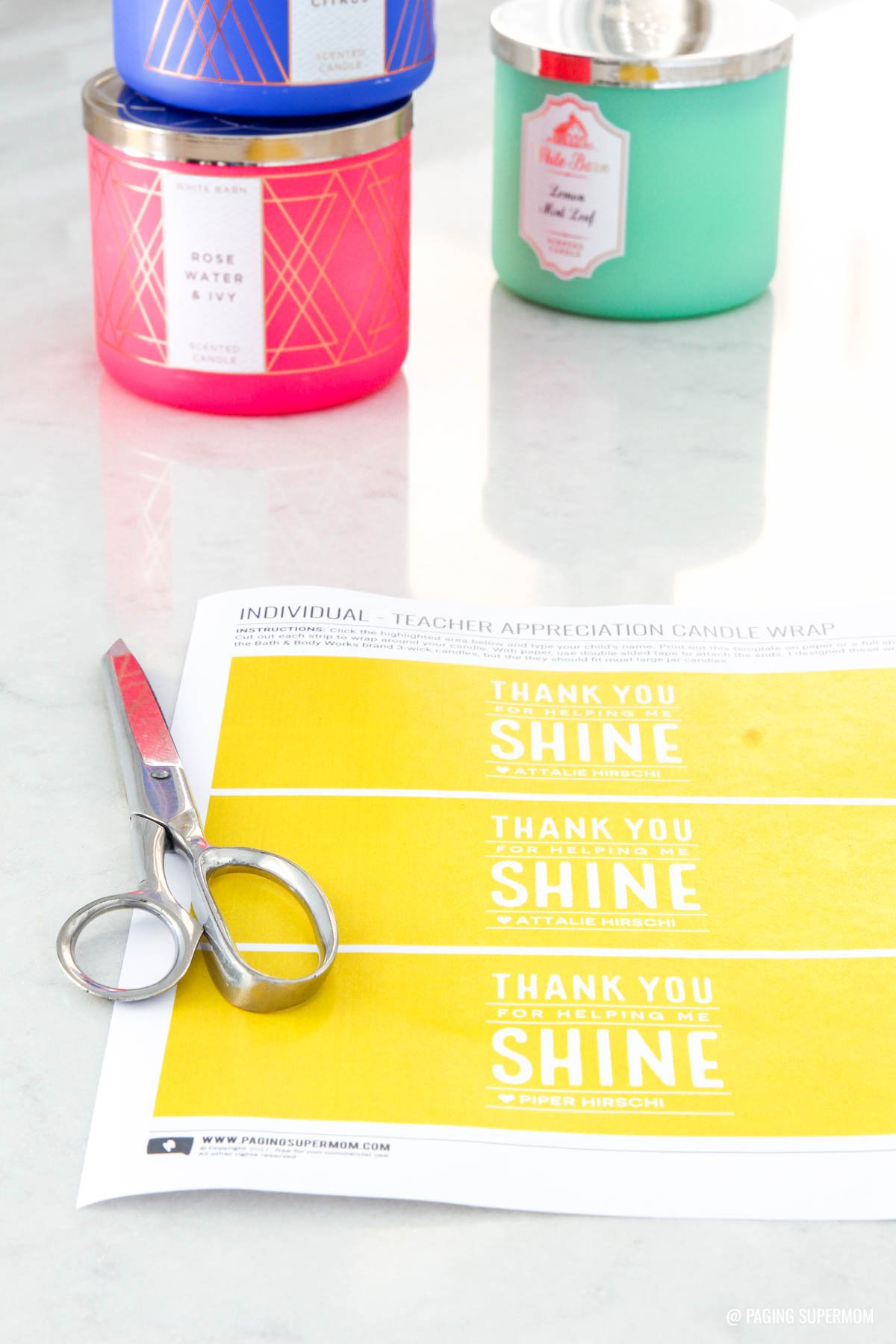 Free Printable Candle Wrap for Teacher Appreciation from @PagingSupermom via @TauniandCo