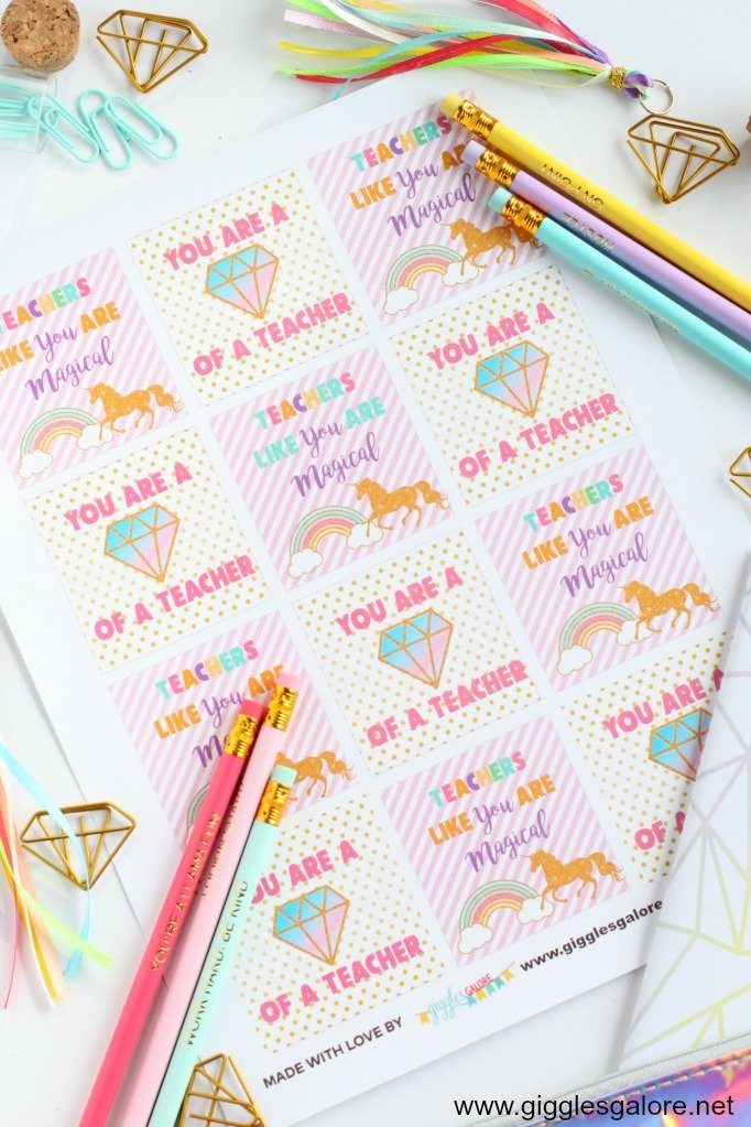 Unicorn Teacher Appreciation Gift Idea + Free Gift Tag Printable #teacherappreciation #printable