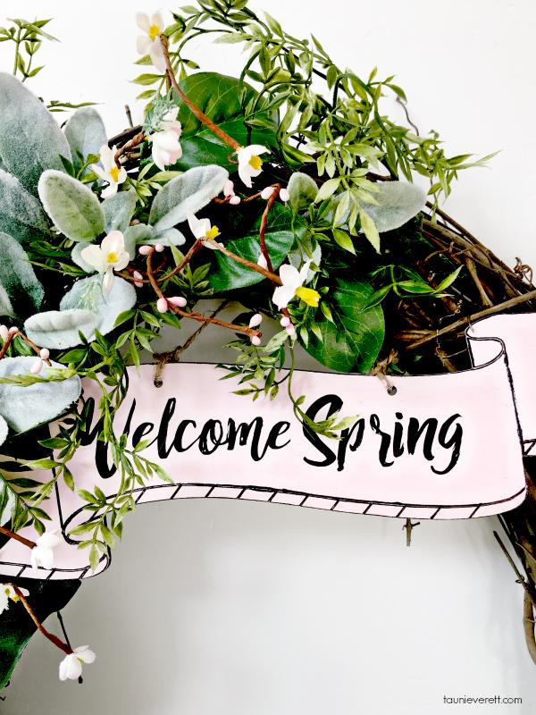 DIY welcome spring grapevine wreath. #spring #springwreath #wreath