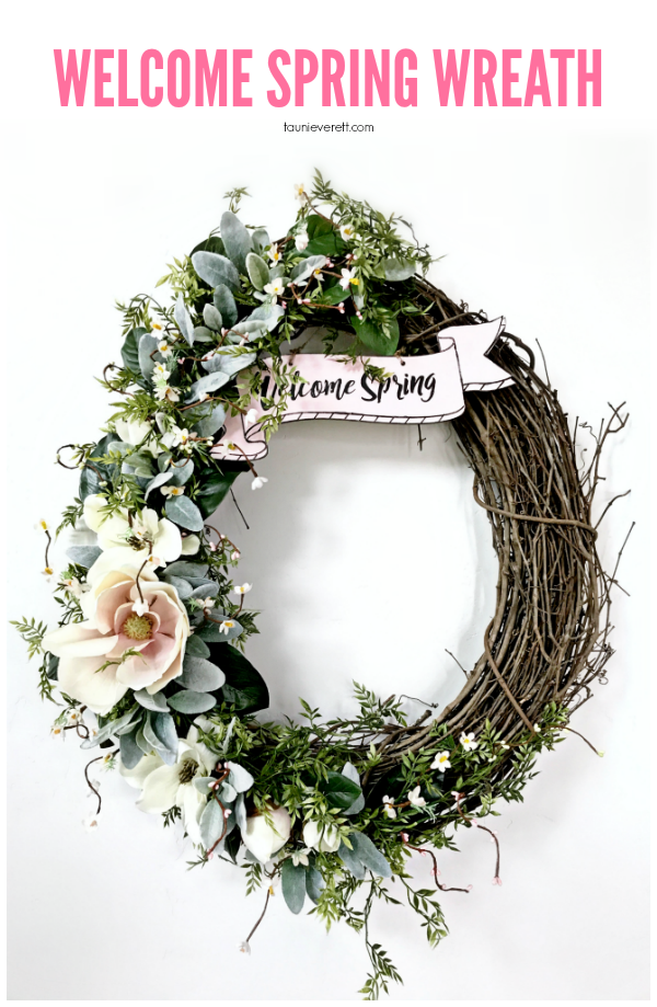 DIY welcome spring grapevine wreath. #spring #springwreath #wreath