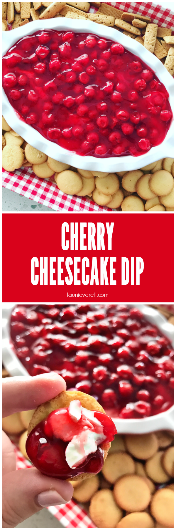 Cherry cheesecake dip recipe. Make in less than five minutes, serves a crowd. #cherry #cherrycheesecake #dip #dessert