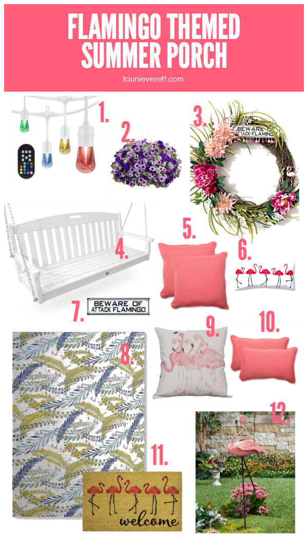 Flamingo Themed Summer Porch Ideas #summerporch #porch #flamingo