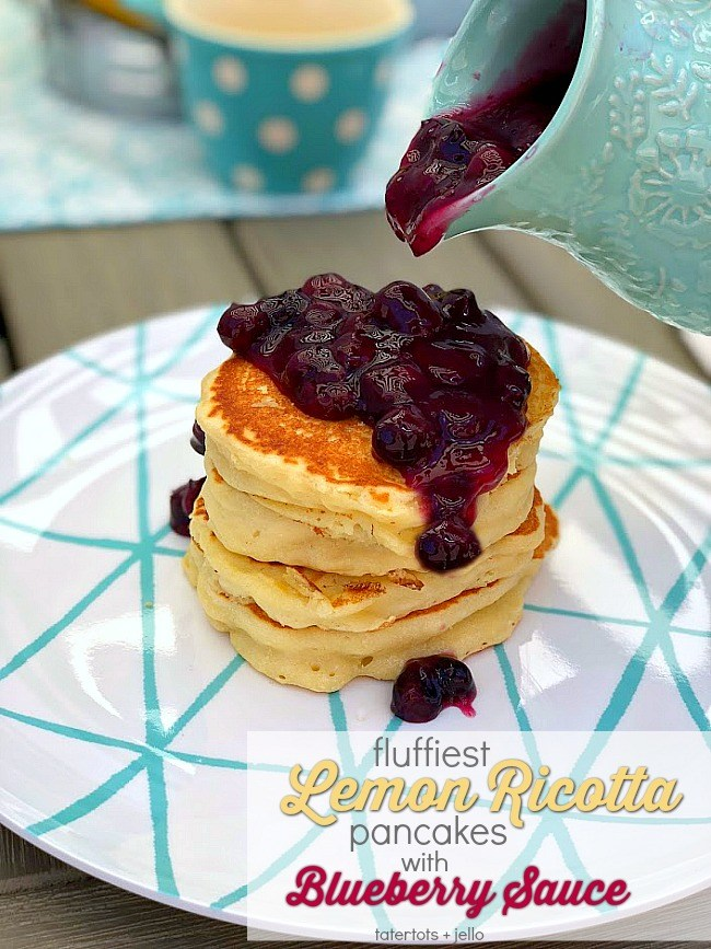 Make the fluffiest lemon ricotta pancakes with blueberry sauce