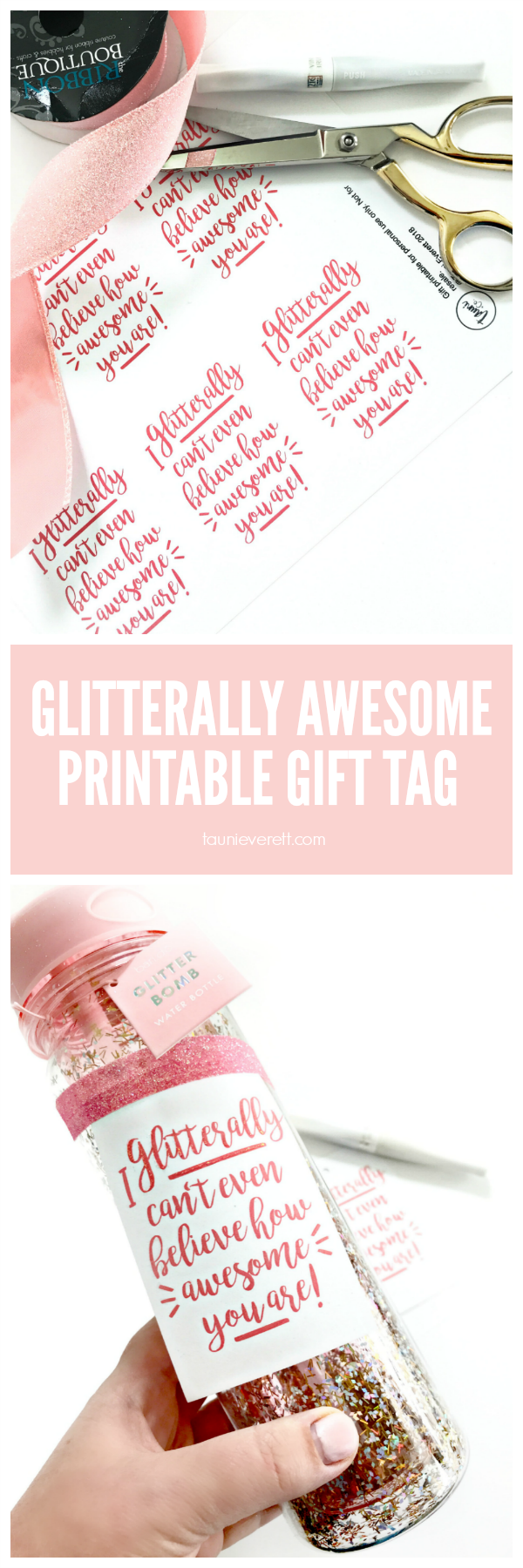 Glitterally Awesome Gift Tag Printable #thankyou #birthdaygift #printable