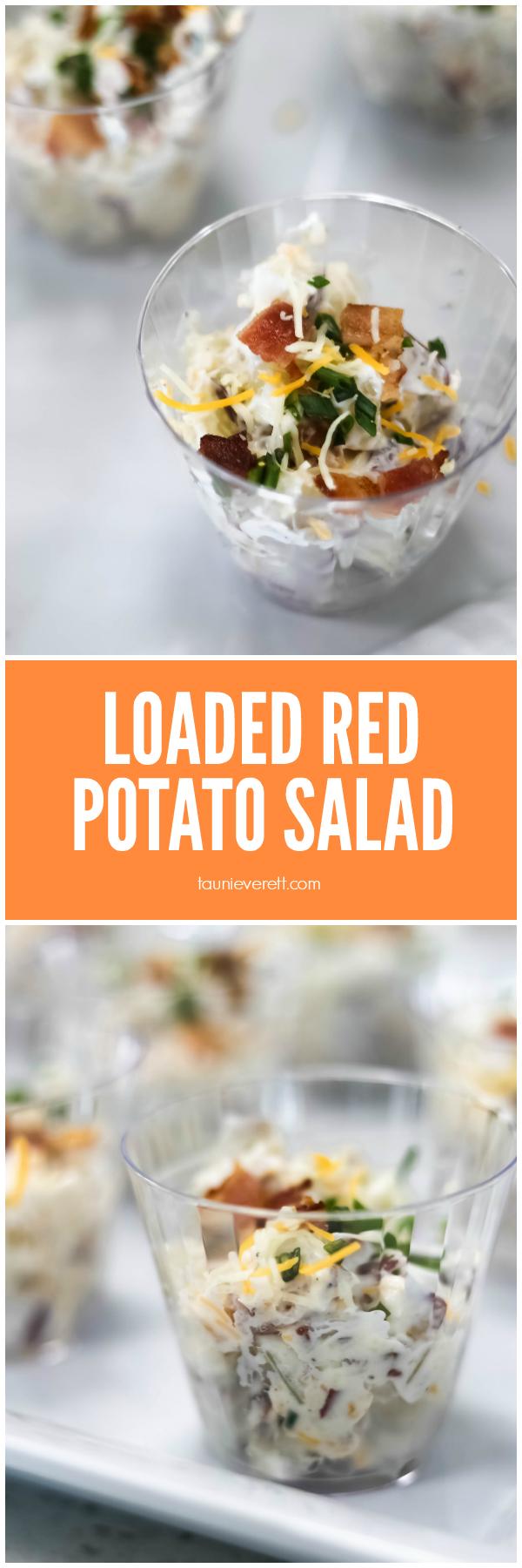 Loaded Red Potato Salad Recipe. Perfect for a picnic or bbq. #potatosalad #picnic #bbq #salad