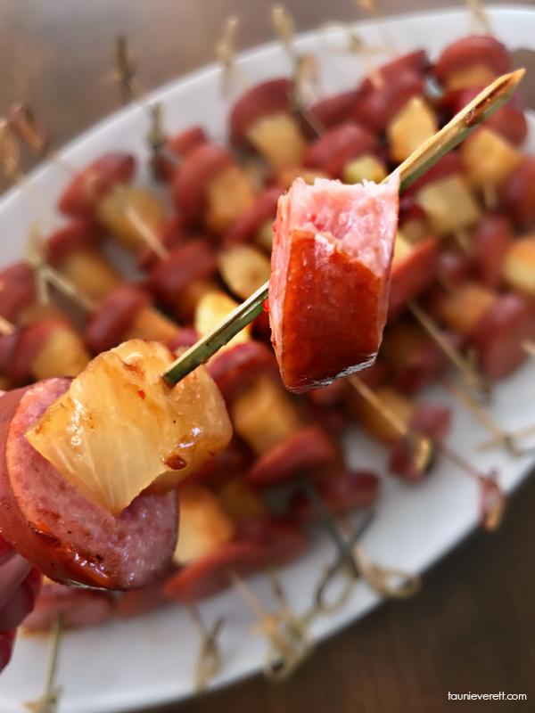 Pineapple Teriyaki Kielbasa Bites. Perfect party appetizer for a neighborhood luau or backyard bbq #appetizer #partyfood #luau #superbowl