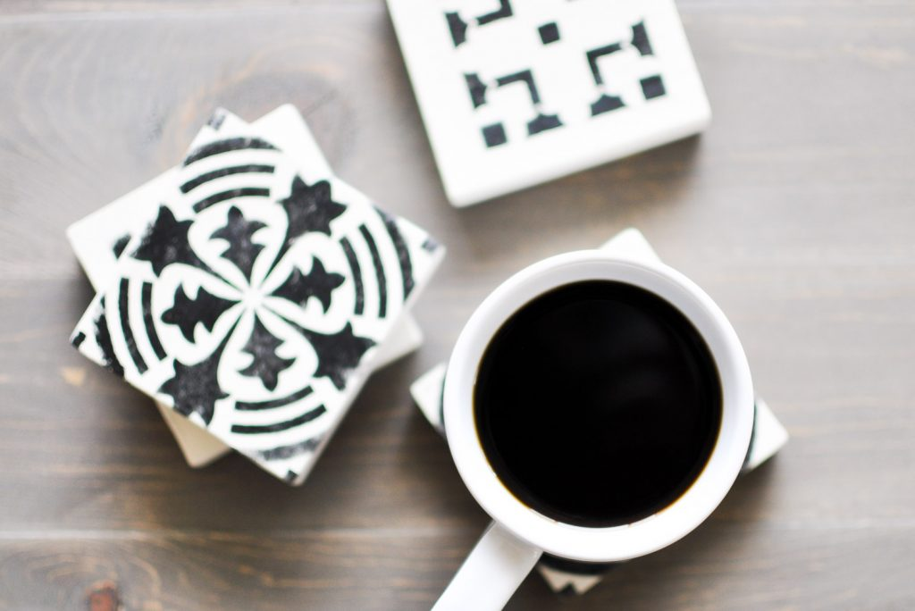 Stenciled wooden coasters 13