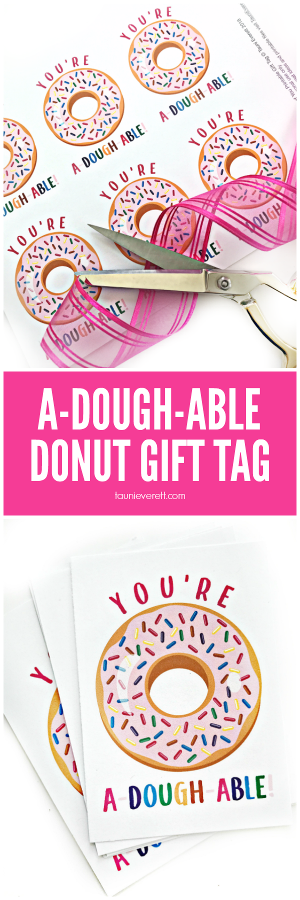 A-dough-able Donut Printable Gift Tag for Valentines by Tauni Everett
