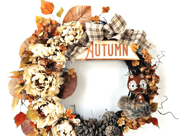 DIY Foxy Autumn Grapevine Wreath