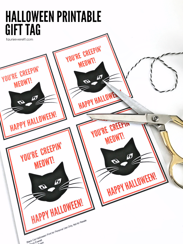 Black cat printable halloween gift tag © tauni everett 2018 2600