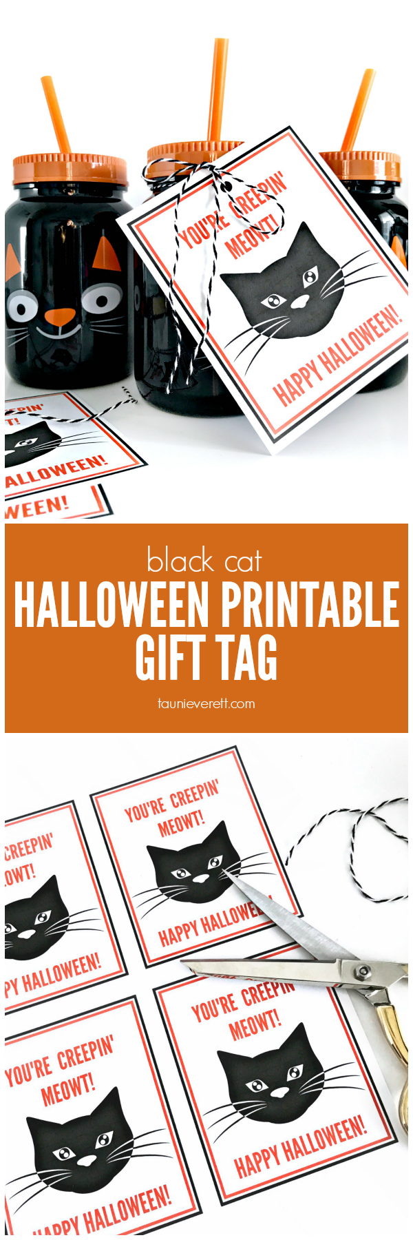 Black cat printable halloween gift tag © tauni everett 2018 hero