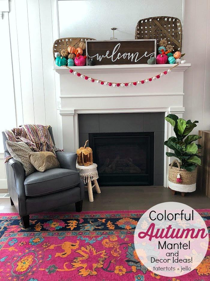 Colorful autumn mantel and decor ideas
