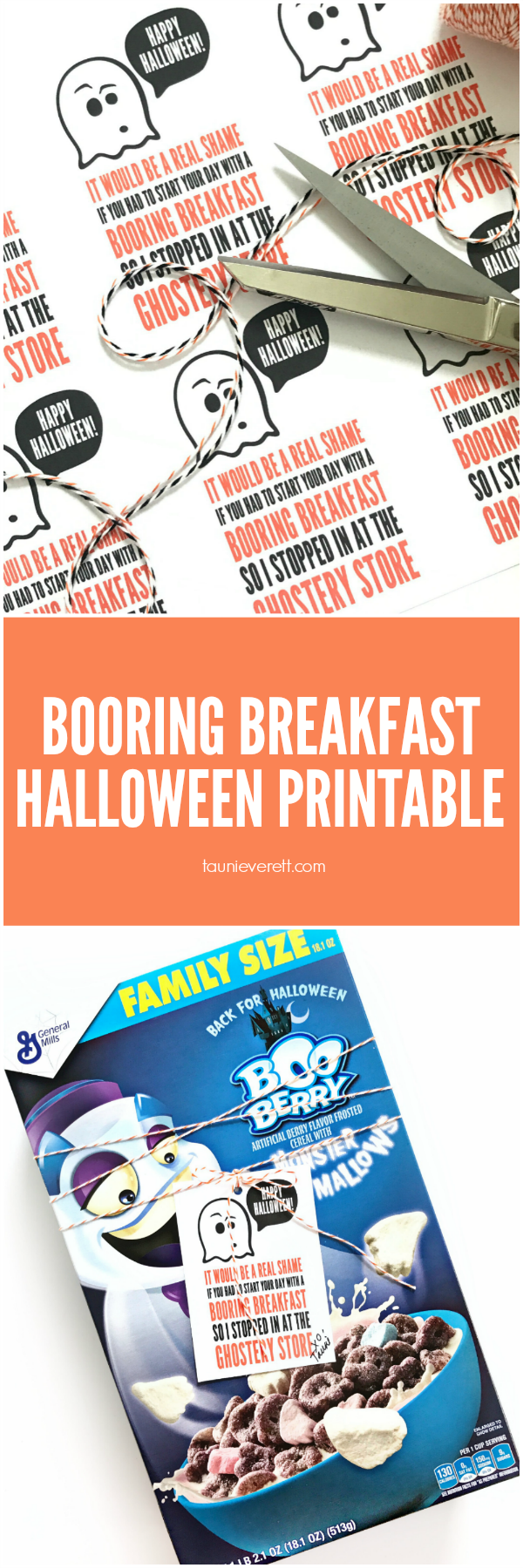 Booring Breakfast Halloween Printable. This free Halloween printable gift tag is perfect for pairing with a fun holiday gift. #halloween #halloweenprintable #halloweengift