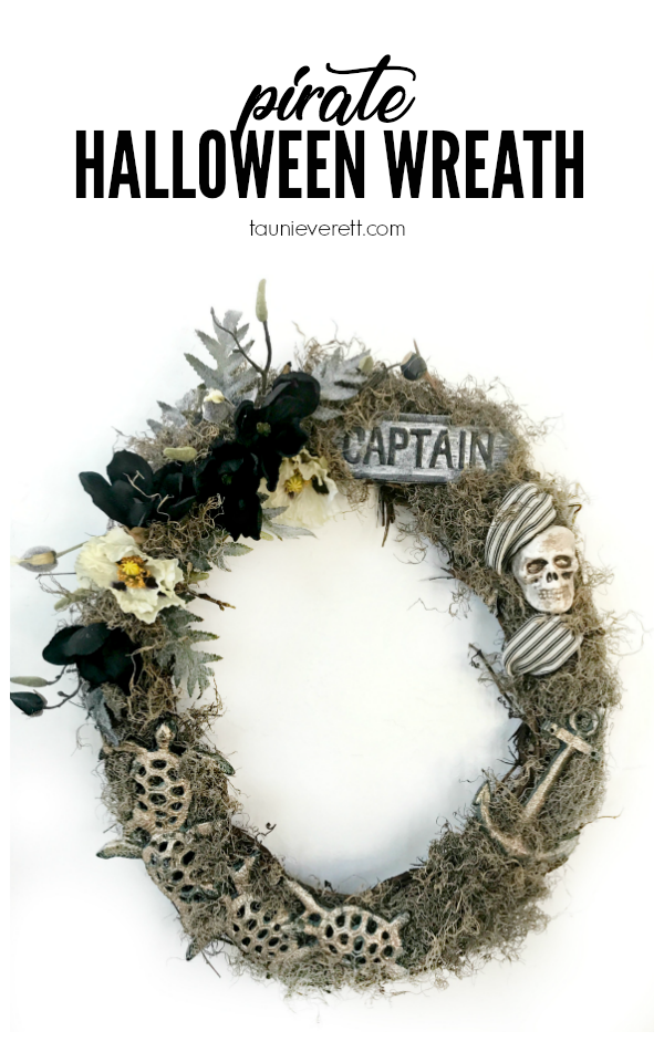 DIY Pirate Halloween Grapevine Wreath. Get all the details, including a list of components. #Halloween #HalloweenWreath #Wreath