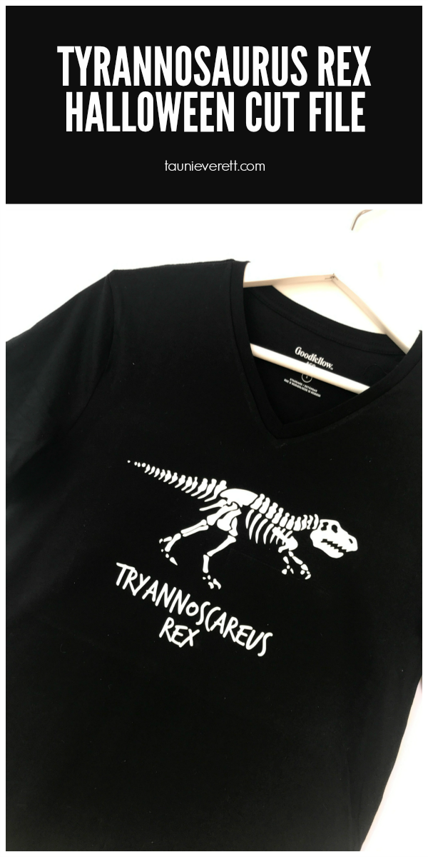 """""""Scary"""" Tyrannosaurus Rex Halloween Cut File. This free cut file is perfect for spooky t-shirts, pillows or can even be used as a print! #halloween #tyrannosaurusrex #Halloweencutfile #cutfile #cricut #silhouette"""