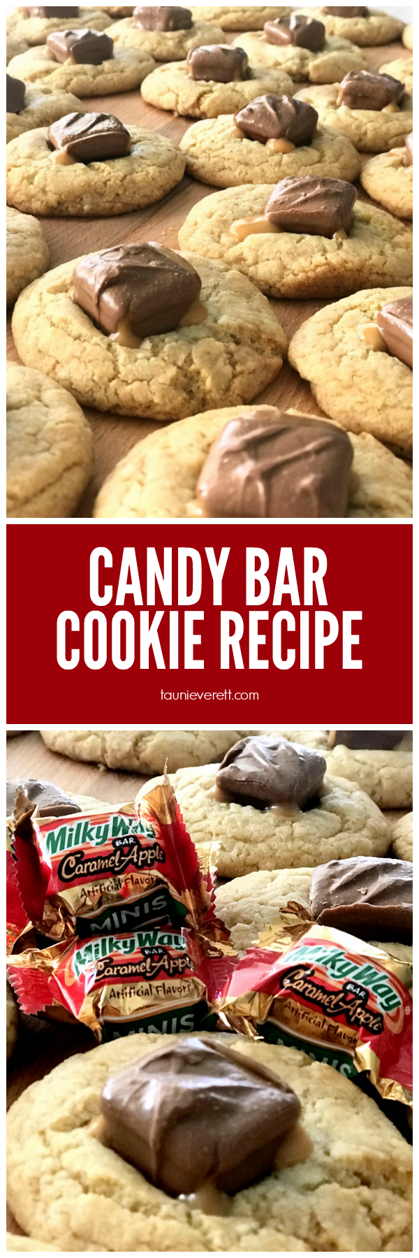 Milky Way Candy Bar Cookie Recipe. Perfect for using up all those mini candy bars from Halloween! #fall #baking #cookierecipe #candybar #halloween