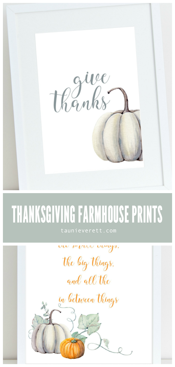 Thanksgiving farmhouse style watercolor prints available for immediate download. #thanksgiving #printable #farmhouse