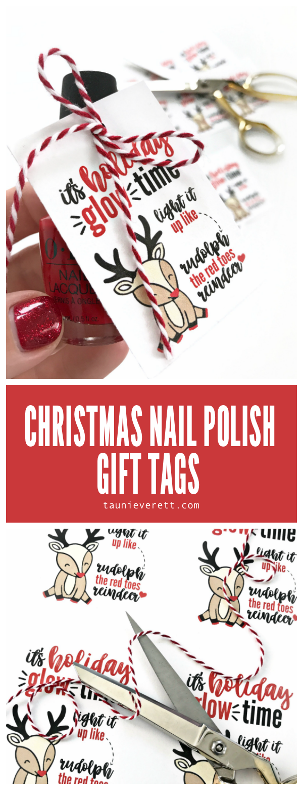 Christmas nail polish printable gift tag. This free instant download is perfect for teen girls! #christmas #christmasprintable #christmasgift #christmasgifttag #gifttag