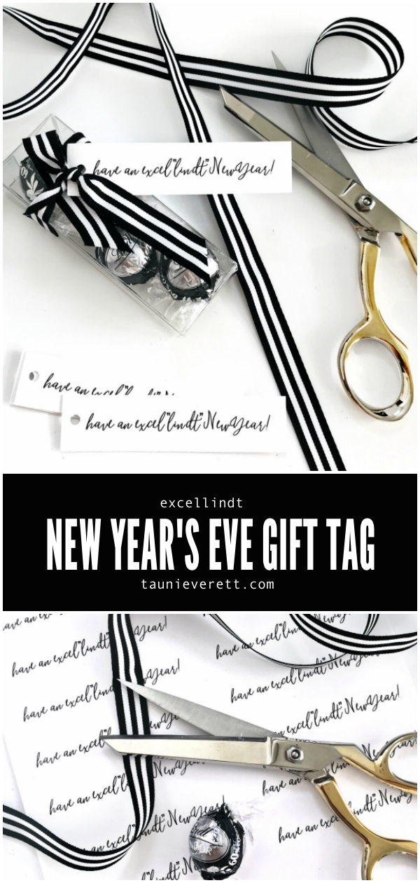 ExcelLINDT New Year's Eve printable gift tag. #newyearseve #newyearsevepartyfavor #printable
