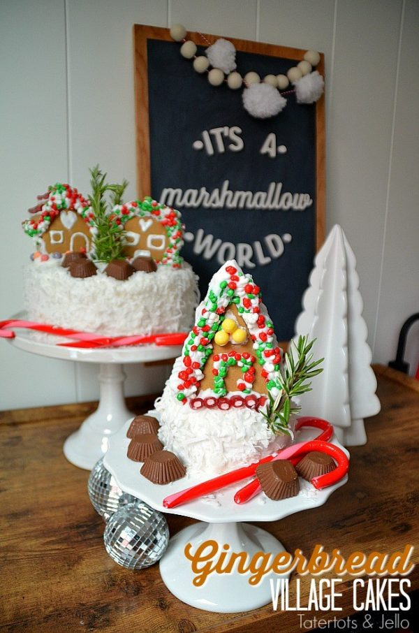 Gingerbread village cakes
