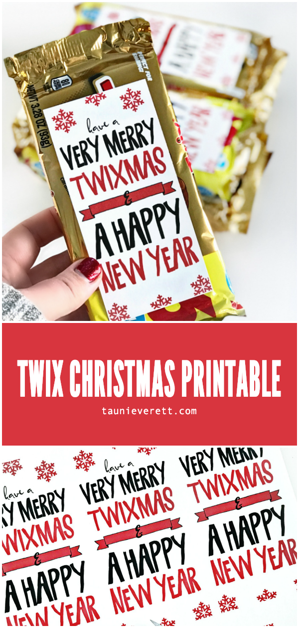 Twix Christmas Holiday Gift Idea + Printable Gift Tag. Perfect for coworkers, neighbors and teens #christmasgift #christmasprintable #twix #lastminutegift