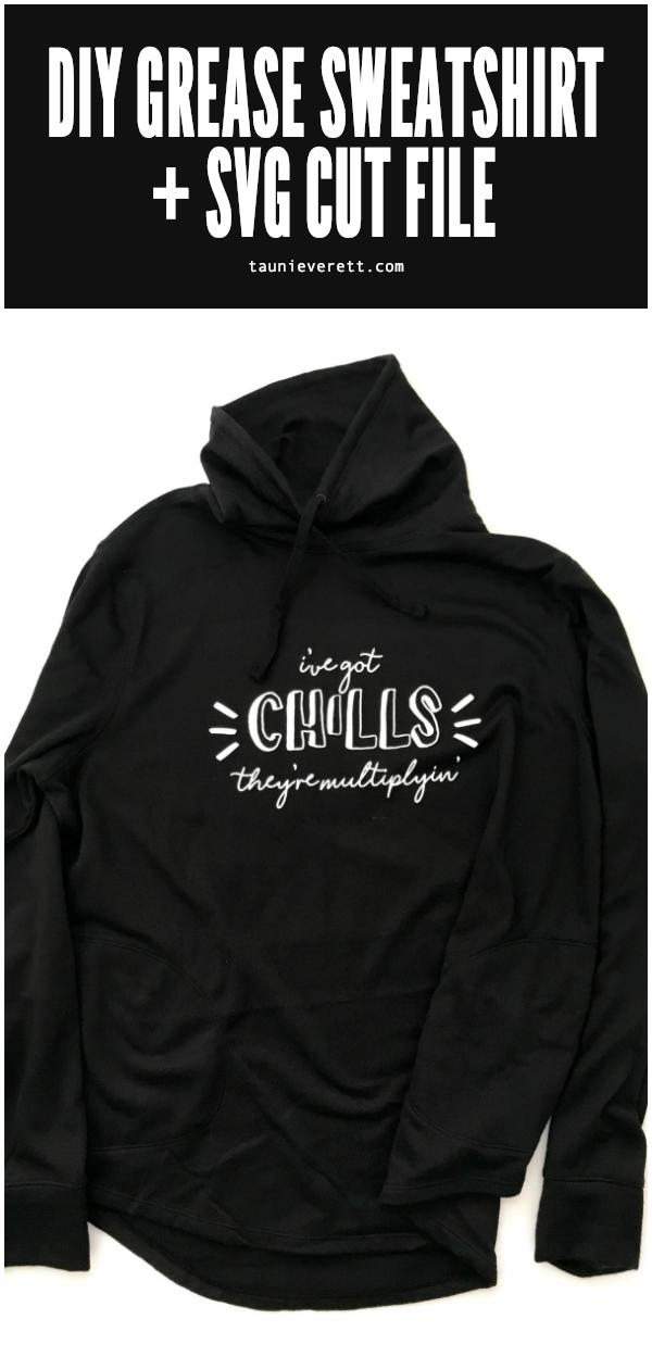 DIY Grease Inspired Sweatshirt. Free SVG cut file download #cricut #silhouette #sweatshirt #grease