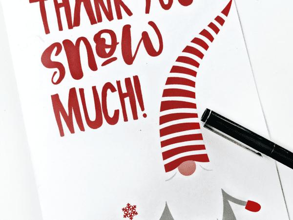 Gnome Holiday Thank You Card Printable