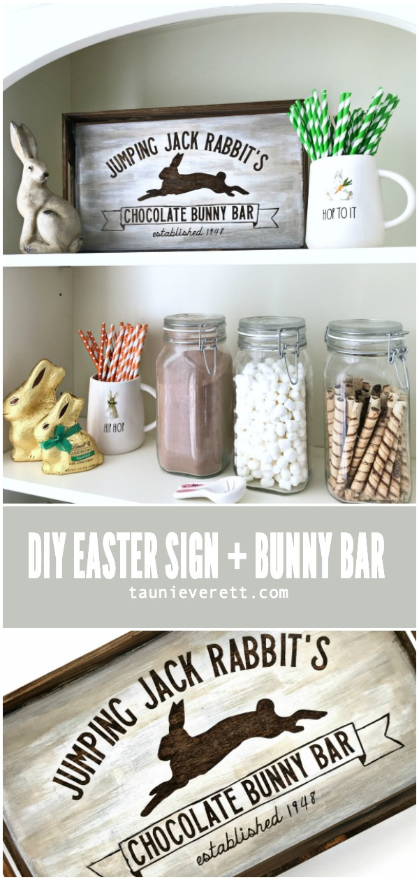 DIY Easter Sign and Hot Cocoa Bar. Free chocolate bunny bar SVG cut file stencil for use with Cricut or Silhouette machine. #cutfile #easter #eastersign #eastercutfile #svg #eastersvg