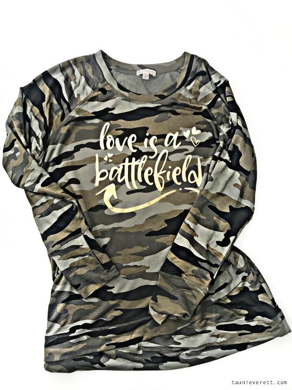 Love is a battlefield cut file diy valentines day shirt © tauni everett 1 600