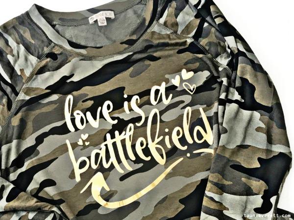Love is a battlefield cut file diy valentines day shirt © tauni everett 6 600Love is a Battlefield cut file and DIY Valentine's Day shirt. #cutfile #cricut #silhouette #valentinesday #valentinecutfile