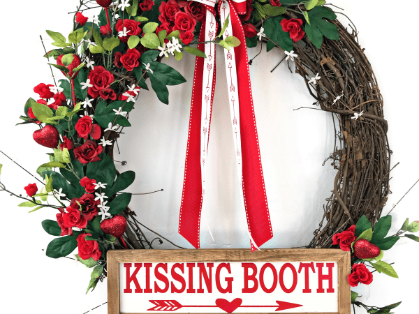 Valentine's Day Grapevine Wreath with Kissing Booth Sign