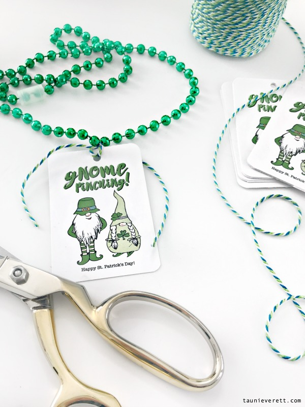 Gnome pinching! Download this cute gnome St. Patrick's Day printable gift tag for free. #stpatricksday #gnome #leprechaun #stpatricksdayprintable #printable