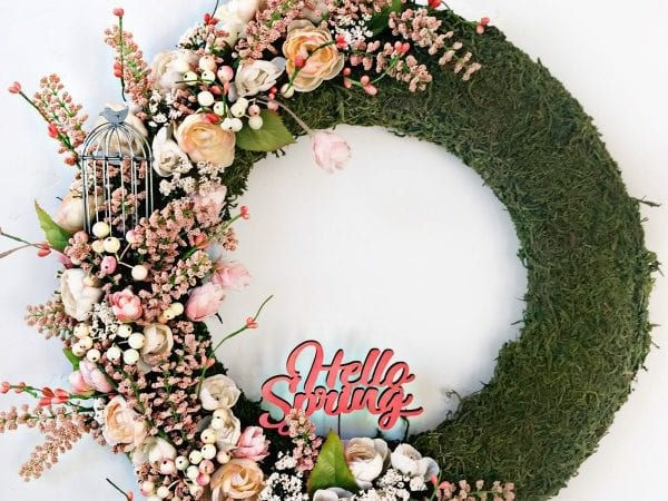 Moss Covered Spring Wreath