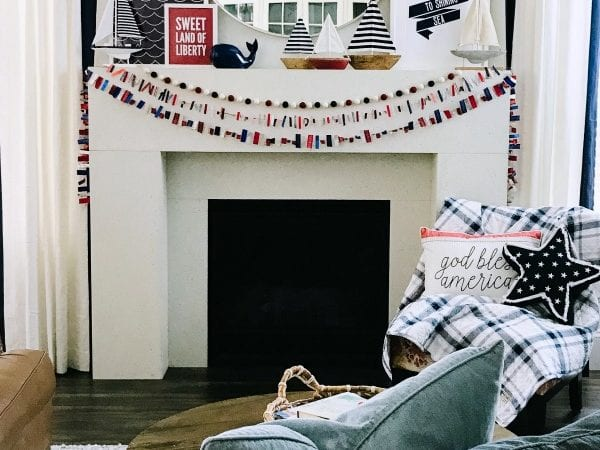Fourth of July Mantel with Nautical Decor