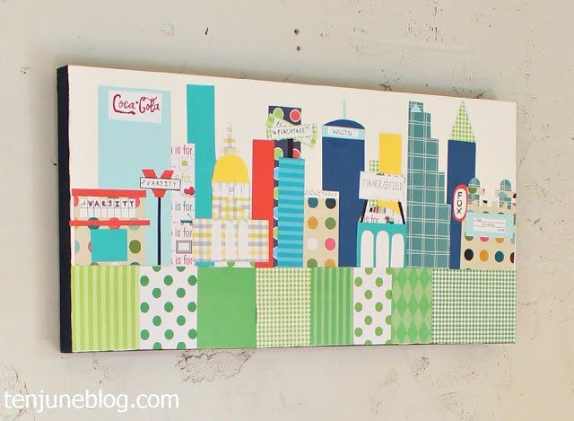 Scrapbook paper skyline wall art tutorial