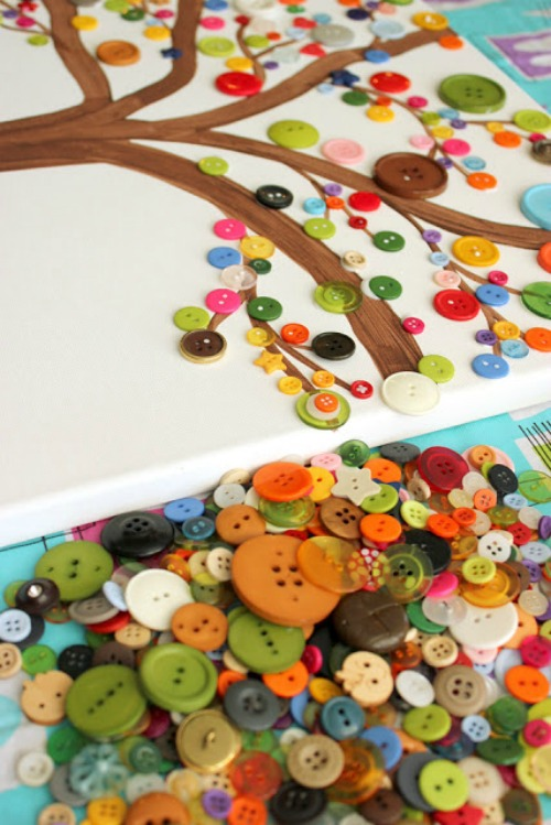 This tree button art is great for kids and would look good on display in the house. There are lots of great ideas in this post.