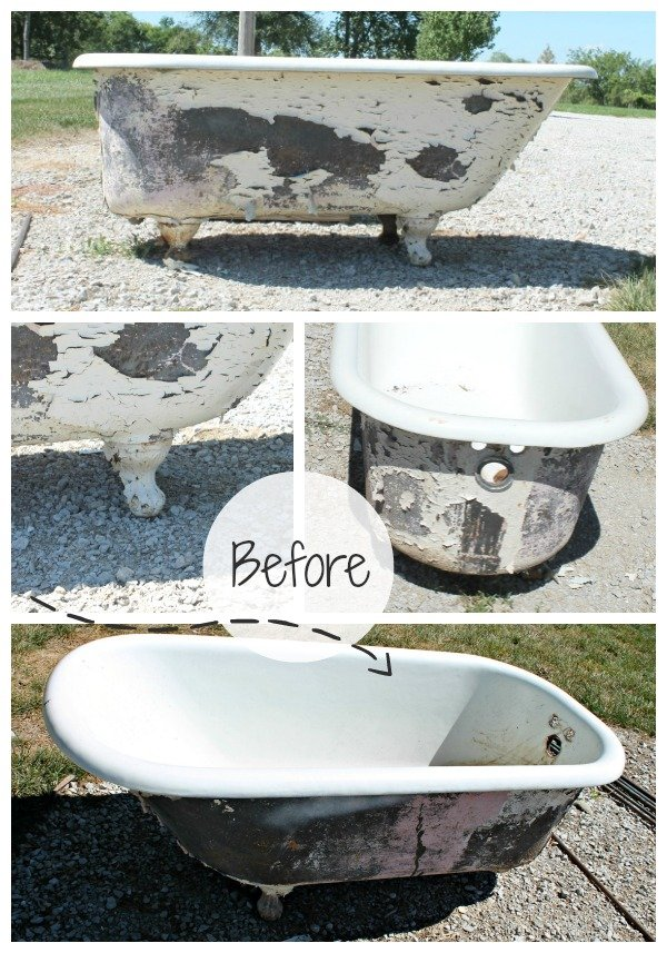 Cast Iron Bathtub turned Outdoor Sofa BEFORE {2}